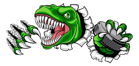 Dinosaure, joueur de hockey sur glace, mascotte de sport animalier