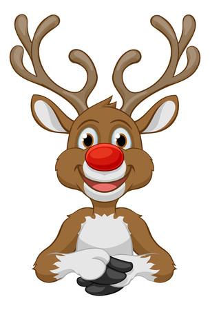 Santas Christmas Reindeer Cartoon Character Çizim