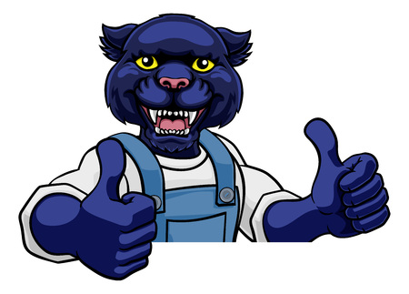 Panther Mascot Plumber Mechanic Handyman Worker
