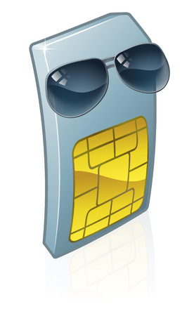 Sim Card Cool Sunglasses Mobile Phone Cartoon Çizim
