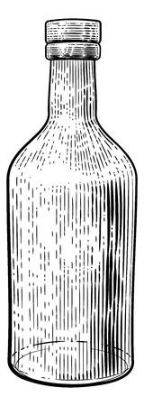 Botella De Vidrio Para Bebida Estilo Vintage Grabado En Madera