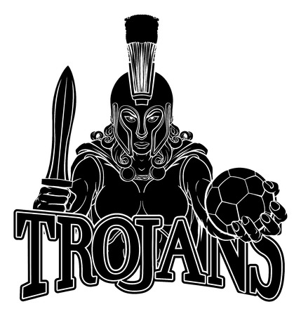 A Spartan or Trojan female gladiator warrior woman soccer football sports mascot Banque d'images - 132863403
