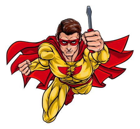 A super electrician or maintenance engineer hero superhero holding a screwdriver Çizim