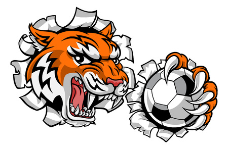 A tiger soccer football player cartoon animal sports mascot holding a ball in its claw