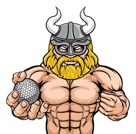 A Viking warrior gladiator golf sports mascot