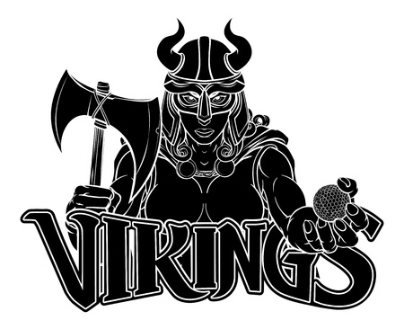 Viking Female Gladiator Golf Warrior Woman Stock Illustratie