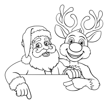 Santa Claus and Reindeer Christmas Cartoon