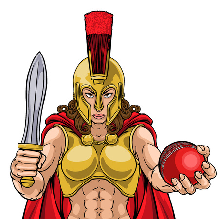 Spartan Trojan Gladiator Cricket Warrior Woman 向量圖像