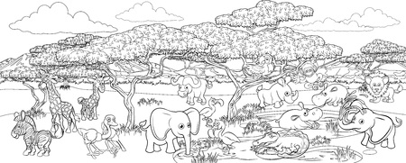 Safari Cartoon Animal Background Landscape Scene Çizim