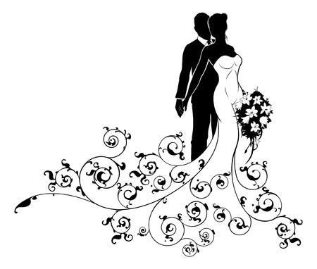 Koncepcja sylwetki ślubnej panny młodej i pana młodego
