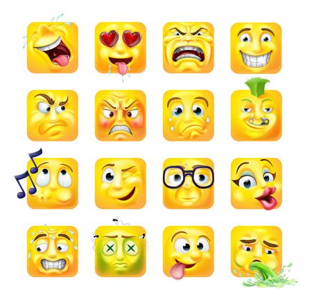 Emoji Emoticon Faces Conjunto de caracteres de dibujos animados de icono 3d Ilustración de vector