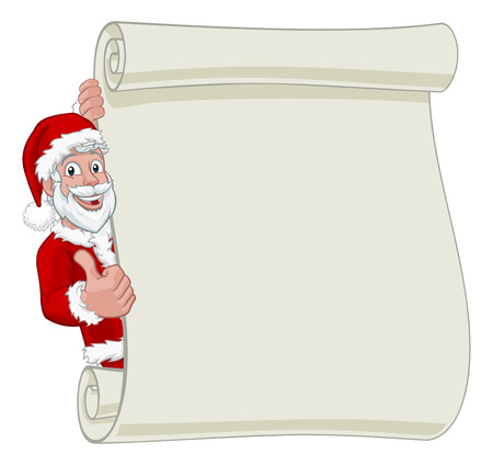 Young Santa Christmas Scroll Sign Thumbs Up