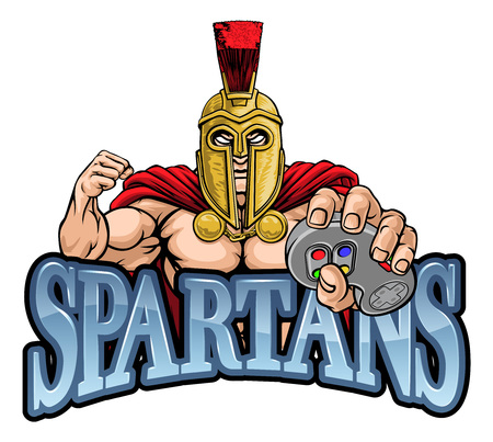Spartan Trojan Gamer Gladiator Controller Mascot Ilustração