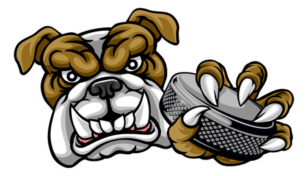 Bulldog Ice Hockey Player Animal Sports Mascot Ilustração