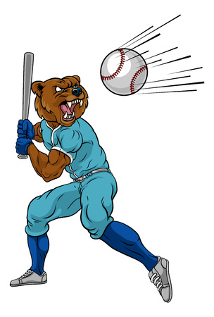 Bear Baseball Player Mascot Swinging Bat at Ball Ilustração