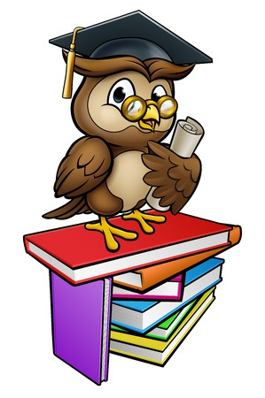 Wise Owl Graduate Teacher Cartoon Character