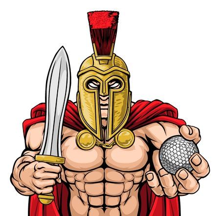 Spartan Trojan Golf Sports Mascot Ilustração