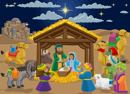 Christmas Nativity Scene Cartoon Zdjęcie Seryjne - 133361335