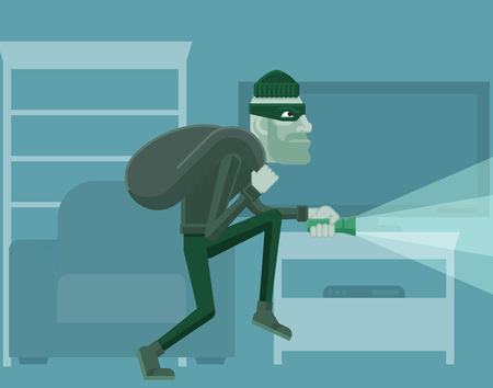 Thief Burglar Robber Criminal Cartoon Scene 일러스트