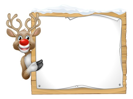 Reindeer Christmas Sign Cartoon 向量圖像