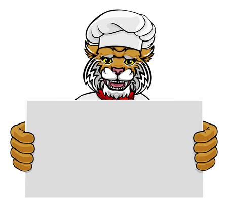 Wildcat Chef Cartoon Restaurant Mascot Sign Illustration
