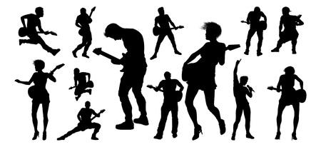Guitarist Musicians Silhouettes Set