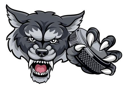 Wolf Ice Hockey Player Animal Sports Mascot