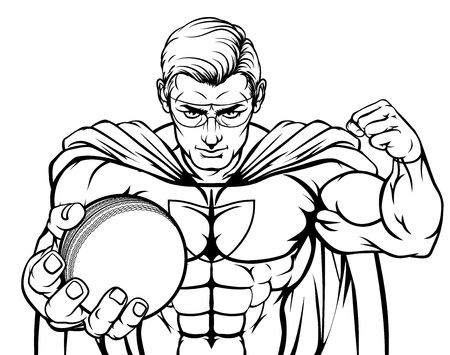 Superhero Holding Cricket Ball Sports Mascot