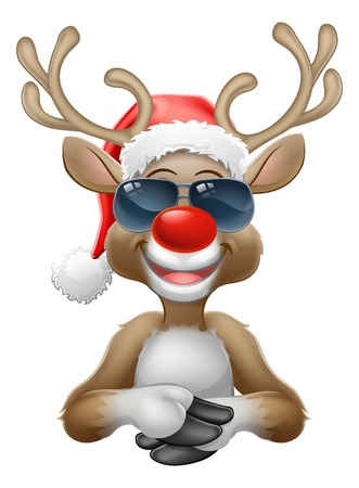 Christmas Reindeer Santa Hat Sunglasses Cartoon