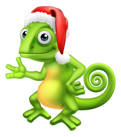 Chameleon at Christmas in Santa Hat Cartoon 일러스트