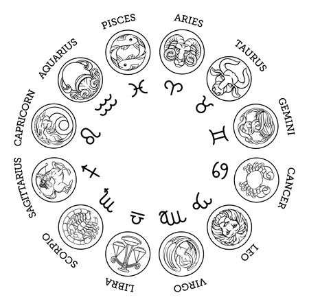 Astrological zodiac horoscope star signs icon set