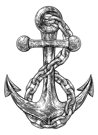 Anchor from Boat or Ship Tattoo Drawing Ilustracja