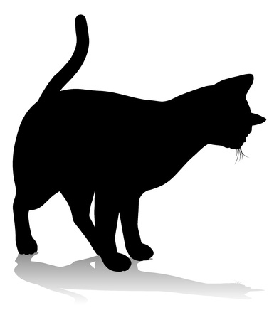 Silhouette Cat Pet Animal Vettoriali