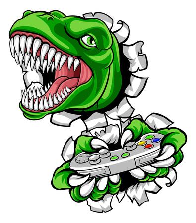 Mascotte del controller del videogioco del giocatore di dinosauro