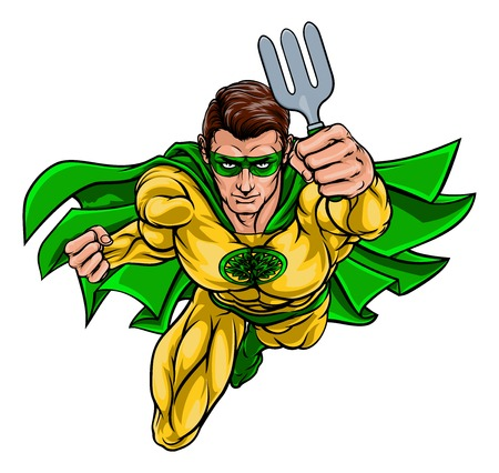 Super Gardener Superhero Holding Garden Fork