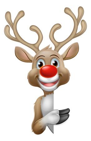 Reindeer Christmas Cartoon Character 矢量图片