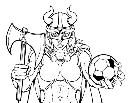 Viking Female Gladiator Soccer Warrior Woman Illustration