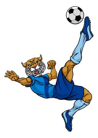 Wildcat Soccer Football Player Sports Mascot Illustration