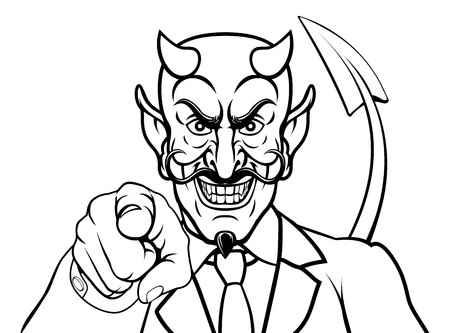 An evil devil or Satan businessman in business suit pointing at the viewer Illustration