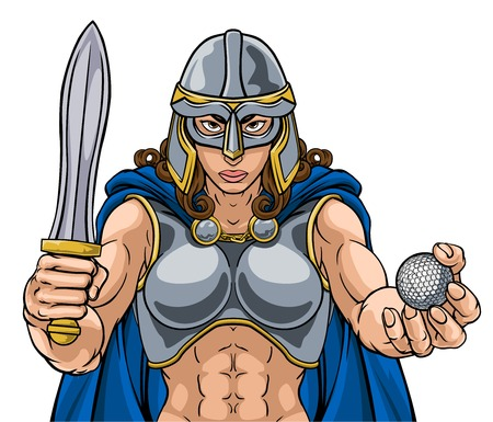 A female Viking, Trojan Spartan or Celtic warrior woman gladiator knight golf sports mascot 向量圖像