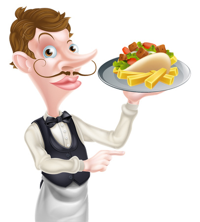 An Illustration of a Cartoon Kebab and Chips Waiter Pointing