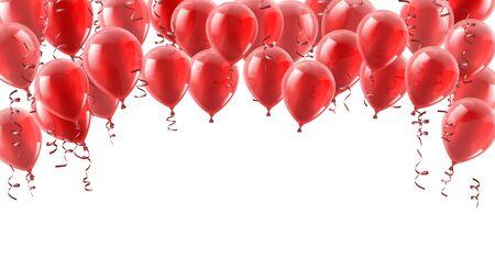 Fondo rojo de globos de fiesta