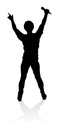 Singer Pop Country or Rock Star Silhouette Ilustracja