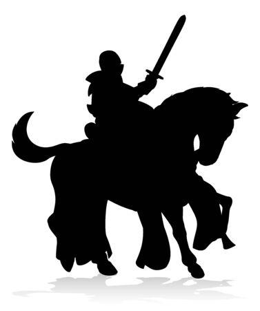 Knight on Horse Silhouette Stock fotó - 133975661