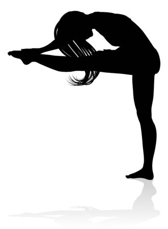 Woman Dancer Stretching Silhouette 向量圖像