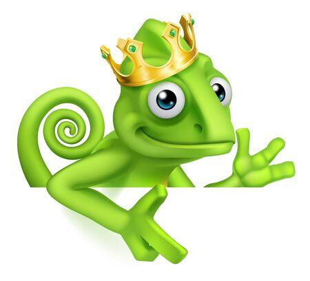 Chameleon King Crown Cartoon Lizard Character 向量圖像