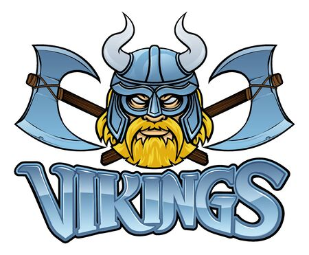 Viking Mascot Warrior Crossed Axes Sign Graphic