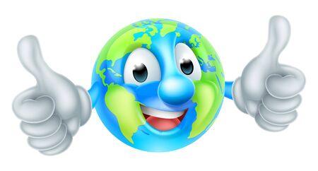 Personnage de dessin animé de globe terrestre mascotte du jour de la terre
