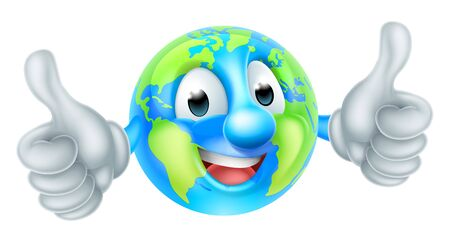 Postać z kreskówki globu światowego dnia ziemi maskotka