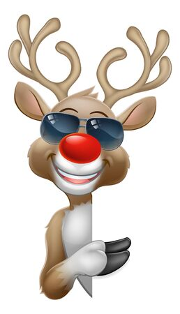 Christmas Reindeer Cartoon Deer in Sunglasses Sign